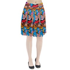 People Face Fun Cartoons Pleated Skirt by AnjaniArt