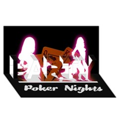 Poker Night Party 3d Greeting Card (8x4) by AnjaniArt