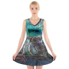 Vegas The Deep End  V-Neck Sleeveless Skater Dress by CrypticFragmentsColors