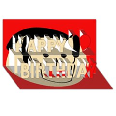 Face Happy Birthday 3d Greeting Card (8x4) by Valentinaart