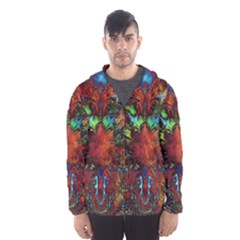 Boho Bohemian Hippie Floral Abstract Hooded Wind Breaker (Men) by CrypticFragmentsDesign