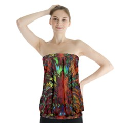 Boho Bohemian Hippie Floral Abstract Strapless Top by CrypticFragmentsDesign
