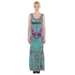 Retro Hippie Abstract Floral Blue Violet Maxi Thigh Split Dress by CrypticFragmentsDesign