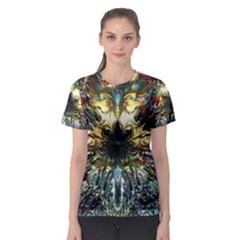 Metallic Abstract Flower Copper Patina Women s Sport Mesh Tee by CrypticFragmentsDesign