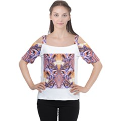 Fire Goddess Abstract Modern Digital Art  Women s Cutout Shoulder Tee by CrypticFragmentsDesign