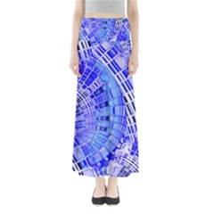 Semi Circles Abstract Geometric Modern Art Blue  Maxi Skirts