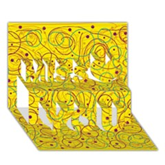 Yellow Abstract Art Miss You 3d Greeting Card (7x5) by Valentinaart