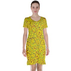 Yellow abstract art Short Sleeve Nightdress by Valentinaart
