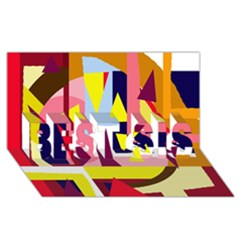 Colorful Abstraction Best Sis 3d Greeting Card (8x4) by Valentinaart