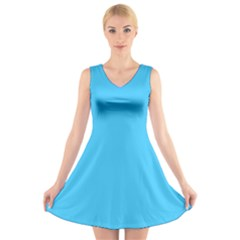 Maya Blue Colour V-Neck Sleeveless Skater Dress by artpics
