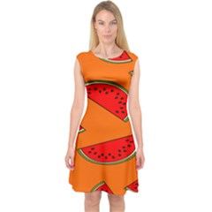 Melon Fruit Pattern Capsleeve Midi Dress by artpics