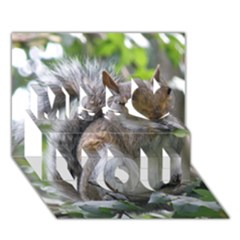 Gray Squirrel Eating Sycamore Seed Miss You 3d Greeting Card (7x5)