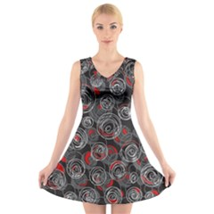 Red and gray abstract art V-Neck Sleeveless Skater Dress by Valentinaart