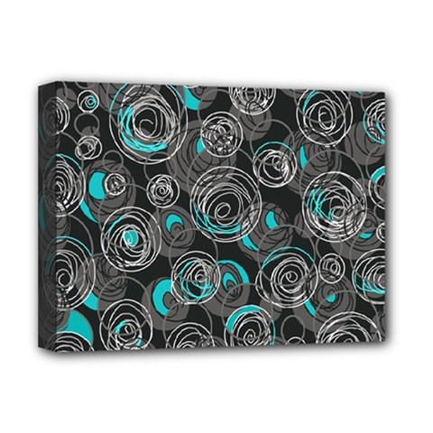 Gray And Blue Abstract Art Deluxe Canvas 16  X 12   by Valentinaart