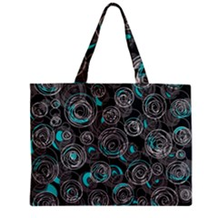 Gray And Blue Abstract Art Zipper Mini Tote Bag by Valentinaart