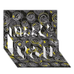 Gray And Yellow Abstract Art Miss You 3d Greeting Card (7x5)