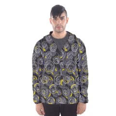 Gray and yellow abstract art Hooded Wind Breaker (Men)