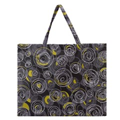 Gray And Yellow Abstract Art Zipper Large Tote Bag by Valentinaart