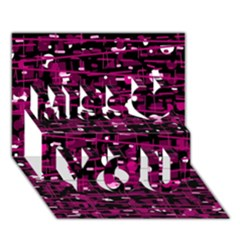 Magenta Abstract Art Miss You 3d Greeting Card (7x5) by Valentinaart
