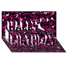 Magenta Abstract Art Happy Birthday 3d Greeting Card (8x4) by Valentinaart