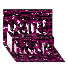 Magenta abstract art You Rock 3D Greeting Card (7x5)
