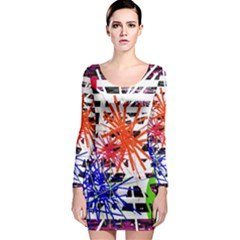 Colorful Big Bang Long Sleeve Bodycon Dress by Valentinaart
