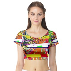 Colorful Abstraction By Moma Short Sleeve Crop Top (tight Fit) by Valentinaart