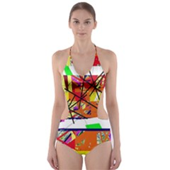 Colorful Abstraction By Moma Cut Out One Piece Swimsuit by Valentinaart
