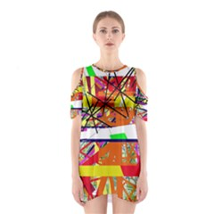 Colorful Abstraction By Moma Cutout Shoulder Dress by Valentinaart