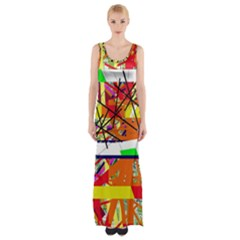 Colorful Abstraction By Moma Maxi Thigh Split Dress by Valentinaart