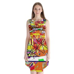 Colorful Abstraction By Moma Sleeveless Chiffon Dress   by Valentinaart
