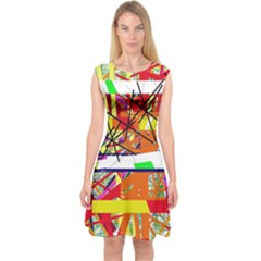 Colorful Abstraction By Moma Capsleeve Midi Dress