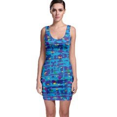 Blue Decorative Art Sleeveless Bodycon Dress by Valentinaart