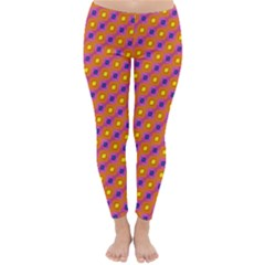 Vibrant Retro Diamond Pattern Winter Leggings  by DanaeStudio