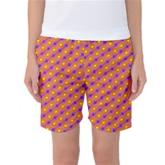 Vibrant Retro Diamond Pattern Women s Basketball Shorts