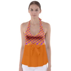 Vibrant Retro Diamond Pattern Babydoll Tankini Top