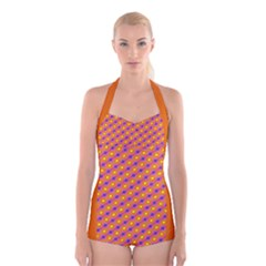Vibrant Retro Diamond Pattern Boyleg Halter Swimsuit