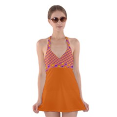 Vibrant Retro Diamond Pattern Halter Swimsuit Dress by DanaeStudio