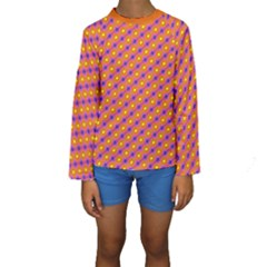 Vibrant Retro Diamond Pattern Kids  Long Sleeve Swimwear