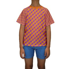 Vibrant Retro Diamond Pattern Kids  Short Sleeve Swimwear