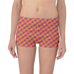 Vibrant Retro Diamond Pattern Boyleg Bikini Bottoms