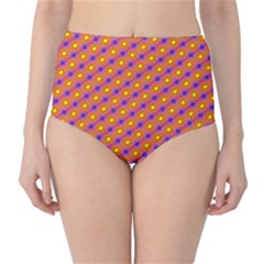 Vibrant Retro Diamond Pattern High-Waist Bikini Bottoms
