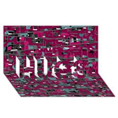 Magenta Decorative Design Hugs 3d Greeting Card (8x4) by Valentinaart