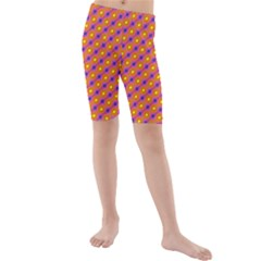 Vibrant Retro Diamond Pattern Kids  Mid Length Swim Shorts