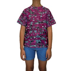 Magenta Decorative Design Kids  Short Sleeve Swimwear by Valentinaart
