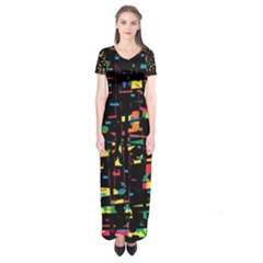 Playful Colorful Design Short Sleeve Maxi Dress by Valentinaart