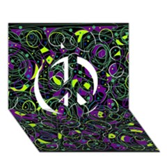 Purple And Yellow Decor Peace Sign 3d Greeting Card (7x5) by Valentinaart