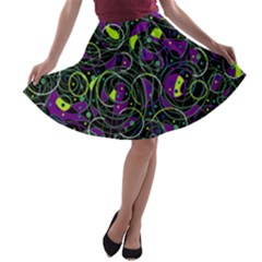 Purple And Yellow Decor A Line Skater Skirt by Valentinaart