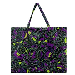 Purple And Yellow Decor Zipper Large Tote Bag by Valentinaart