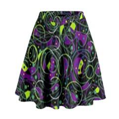 Purple And Yellow Decor High Waist Skirt by Valentinaart